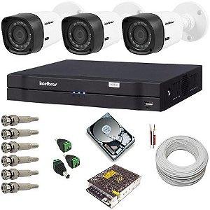 Kit cftv 3 Câmeras 1010B Intelbras resolução em HD 12 Leds infravermelho DVR Stand Alone com acesso remoto