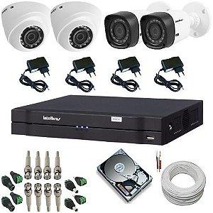 Kit Intelbras com 2 Câmeras 1010D Dome 1.0 Megapixel 2 Câmeras 1010B Bullet 1.0 Megapixel + DVR Intelbras com acesso remoto