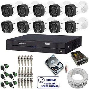 Kit Intelbras com 10 Câmeras Bulet Multi HD Infravermelho DVR 16 Canais com Acesso via Internet