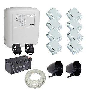 Kit de Alarme ECP com 1 Central de Alarmes MAX com Discadora + 8 Sensores Magnéticos sem fio
