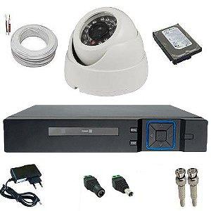 kit Monitoramento 1 Câmera AHD 1.0 Megapixel de resolução DVR Stand Alone Multi HD