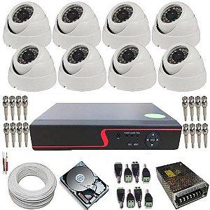 Sistema de Monitoramento com 8 Câmeras Dome AHD 1.0 Megapixel 720p + DVR com Acesso a internet