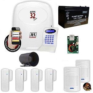 Kit Alarme JFL com 1 Central de Alarme Active 32 Zonas Mistas + 2 Sensores Pet 4 Sensores Magnéticos