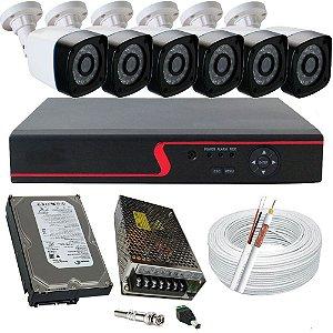 Sistema de Vigilância com 6 câmeras infravermelho AHD 1.3 Megapixel + DVR 8 canais