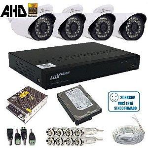 Sistema de Vigilância com 4 câmeras infravermelho AHD 1.3 Megapixel + DVR Luxvision