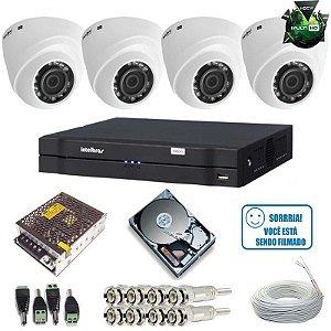 Sistema de Segurança Intelbras com 4 Câmeras Dome 1010D 1.0 MP DVR Stand Alone Multi HD