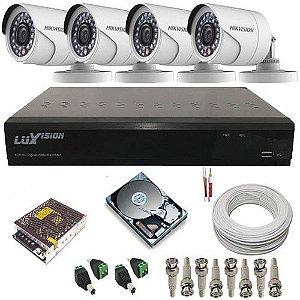 Kit Vigilância com DVR Stand Alone Luxvision + 4 câmeras Infravermelho Full HD 2.0 Mp