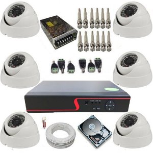 Kit Vigilância com 6 Câmeras Dome 24 Leds Infravermelho AHD 1.0 Mp + DVR 8 canais