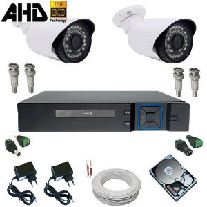 Kit Monitoramento 2 Câmeras Infravermelho AHD 1.3 Mp + DVR Multi HD 4 canais