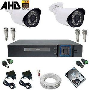 Kit Monitoramento 2 Câmeras Infravermelho AHD 1.3 Mp + DVR Multi HD 4 canais