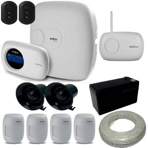 Kit Intelbras 1 Central de Alarme AMT 2010 com Discadora 6 Sensores de presença sem fio
