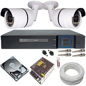 Sistema de Monitoramento 2 Câmeras AHD 1.3 Mp 720p DVR Multi HD 4 Canais