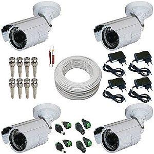 kit Monitoramento Básico com 4 Câmeras Infravermelho AHD 1.3 Mp + Acessórios