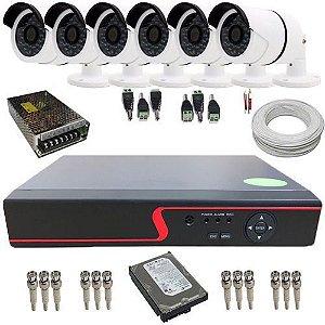 Kit Monitoramento 6 Câmeras 36 Leds Infravermelho AHD 1.3 Mp 720p DVR 8 Canais