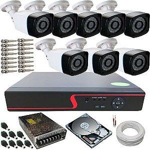 Sistema de Vigilância com 8 Câmeras AHD 1.3 Megapixel 720p + DVR Stand Alone 8 canais
