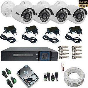 Kit de Vigilância 4 Câmeras Infravermelho Full HD 1080P 2.0 Mp + HD 1 TB