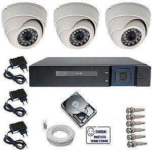 Kit Vigilância 3 Câmeras Dome Analógicas 24 Leds Infravermelho + DVR 4 Canais