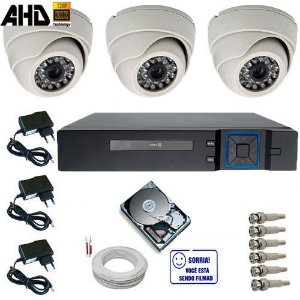 Sistema de Vigilância 3 Câmeras Dome Infravermelho AHD 1.0 Mp DVR Multi HD