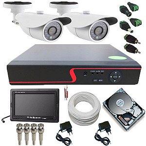 Kit de Vigilância 2 Câmeras Analógicas 1400 Linhas DVR 4 Canais + Monitor 7 Polegadas