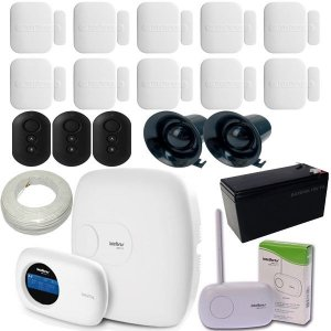 Kit de Alarme Intelbras Central AMT 2018 EG Com Discadora 10 Sensores XAS 4010 Smart SF
