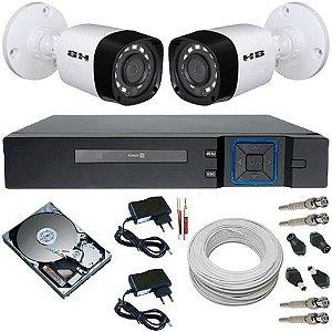 Kit 2 Câmeras de Segurança Híbrida 18 Leds Infravermelho 720p 1 Mp + DVR Multi HD