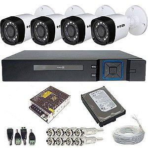 Kit Monitoramento 4 Câmeras Híbridas 18 leds Infravermelho 1 Megapixel + DVR 4 Canais