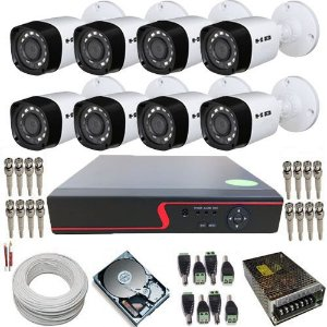 Kit 8 Câmeras Híbridas Infravermelho 720p 1 Megapixel DVR 8 Canais Com Acesso à Internet.