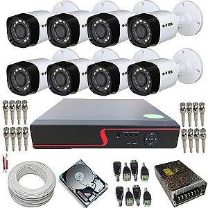 Kit 8 Câmeras Híbridas Infravermelho 720p 1 Megapixel DVR 8 Canais Com Acesso à Internet.