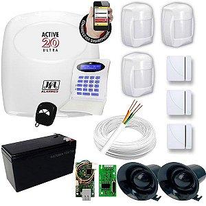 kit de Alarme JFL Com 1 Central Active 20 Ultra Monitorada Pelo celular  + 6 Sensores JFL