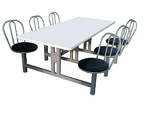 Mesa para refeitório com encosto Kingflex