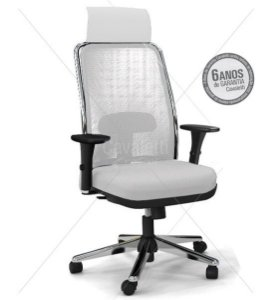 Cadeira para Escritório Presidente Base Cromada Braço 3D Cavaletti NewNet 16001AC