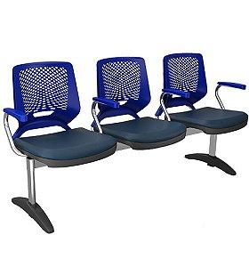 Cadeira Longarina de 3 lugares Beezi com Braços - Base Cromada