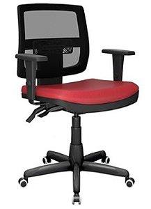 Cadeira Giratoria Executiva  Brizza Tela Back System Plax - Base Standard Braços 3D PP - Plaxmetal