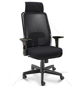 Cadeira Presidente NewNet 16001 AC - Base Aço Com Polaina - Syncron - Braços SL