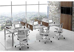 Plataforma de trabalho dupla componível 6 lugares, pés metálicos Avantti