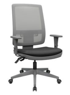 Cadeira Presidente Brizza Plaxmetal Base Piramidal Grafite - Braços 3D.  Autocompensador Plax Cinza