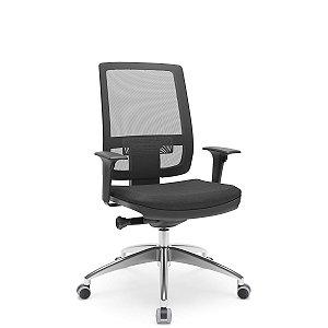 Cadeira Diretor Brizza Tela Autocompensador Slider - Base Alumínio - Braços 3D PU - Plaxmetal