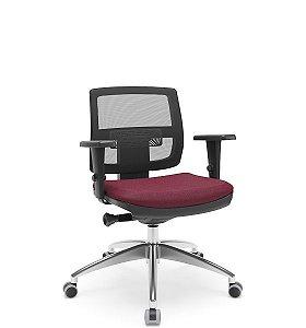Cadeira Plaxmetal Executiva Brizza Tela Base Aluminio Autocompensador Slider Braço 3D PU