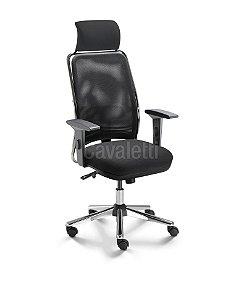 Cadeira Presidente NewNet 16001 AC Com Apoio Lombar Regulavel - Base Cromada - Syncron - Braços SL  New PU Cavaletti