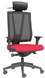 Cadeira Giratória Presidente Base Piramidal Mecanismo Autocompensador Apoio Lombar Twister Plaxmetal