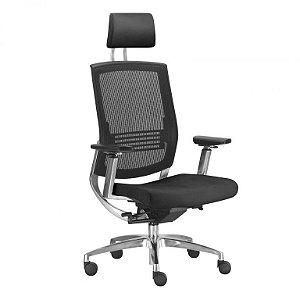 Cadeira Presidente Giratória Fit - Mecanismo Sincronizado - Base Aluminio - Apoio de Cabeça - Apoio Lombar - Com Braço - Frisokar