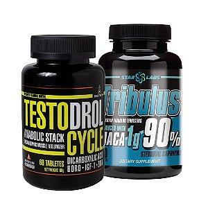 COMBO MAIS TESTO - TESTODROL CYCLE 60 TABS + TRIBULUS 90% COM MACA 90 TABS