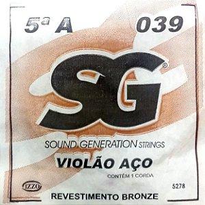 "ENCORDOAMENTO P/VIOLAO ACO (010) AVULSA 5A ""A"" SG5278 SG"