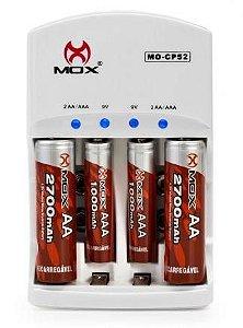 CARREGADOR DE PILHAS MOX C/ 2AA 2700MAH E 2AAA 1000MAH MO-CP52 BIVOLT