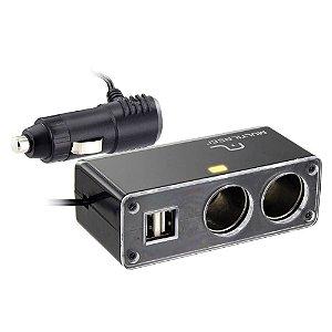 EXTENSAO VEICULAR 12V - 2X12V / 2 USBX5V 2A AU905 MULTILASER