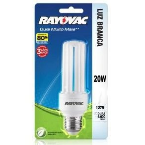 LAMPADA 20W COMPACT FLAT LUZ BRANCA 127V - RAYOVAC