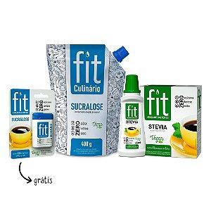 Combo FIT: Fit Culinário +  Stevia com Sucralose - Líquido 65ml e Sachê - Ganhe 1 Fit Comprimido