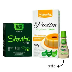 Combo Stevita Soul: Mistura para Pudim sabor Leite Condensado + Stevita Soul - Ganhe: 1 Orgânico Líquido