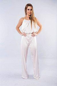 Macacão Pantalona Frente Única Offwhite