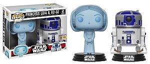 Funko Pop Vinyl Princess Leia e R2-D2 - Star Wars - Edição SDCC Comic Con 2017